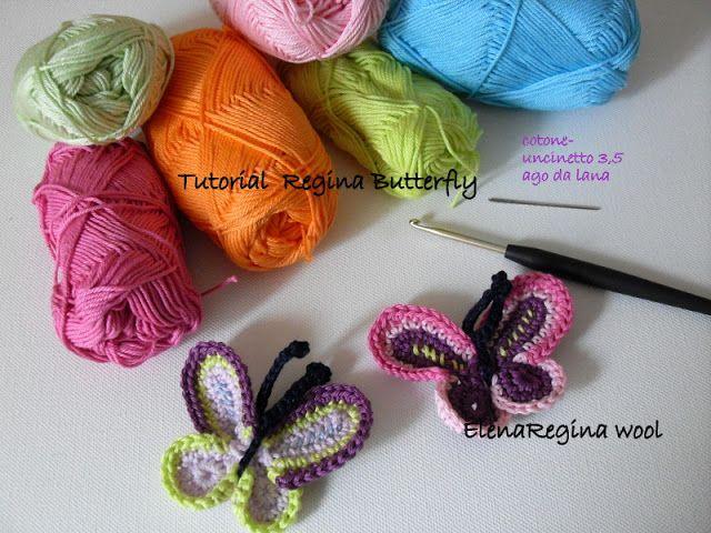 free crochet butterfly tutorial in Italian by ElenaRegina wool: Regina Butterfly -- tutorial farfalla ---