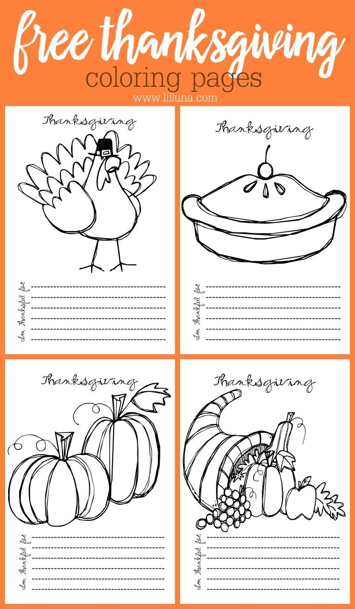 FREE Thanksgiving Coloring Pages - a cute printable kids activity for the kids to do while the adults get food ready (or watch football!) ;)