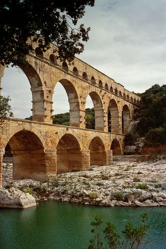 Pont du Gard - a monumental Roman aqueduct between the towns of Uzes and Nimes, France.