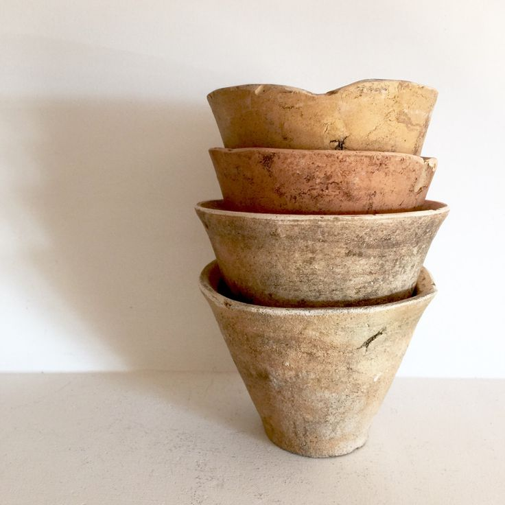 French Resin Pots   Antique French Pots   Small Terra Cotta Pots   Set Of 4  Rustic Pots   Antique Resin Pots From Landes   French Garden Pot