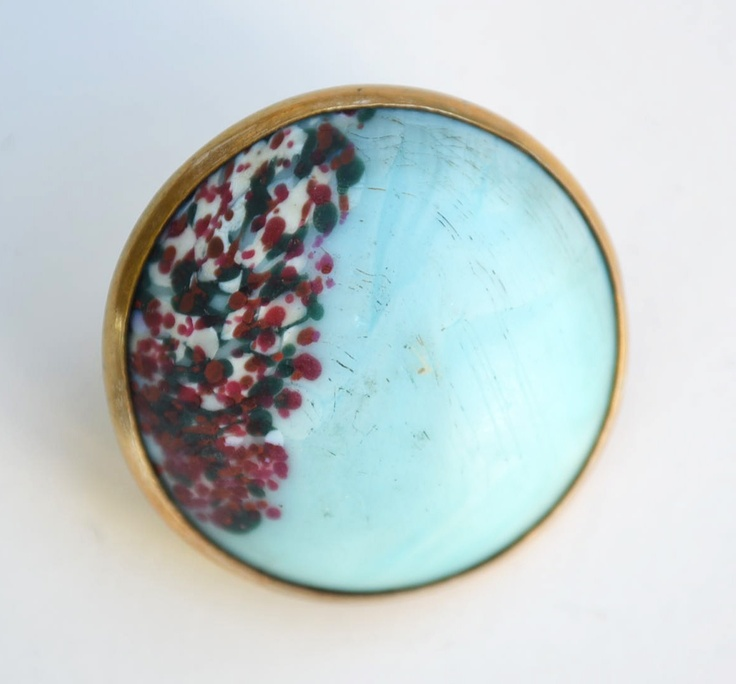Vintage Button. Hand painted stone.: Vintage Buttons, Painted Stones