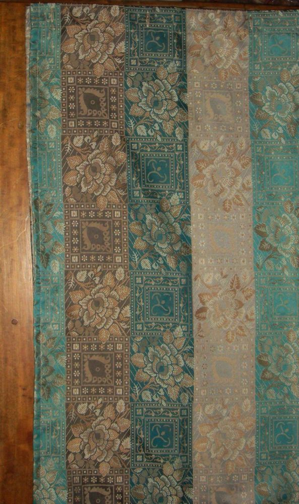 Gold And Teal Curtains - Teal Embellished Faux Silk Eyelet