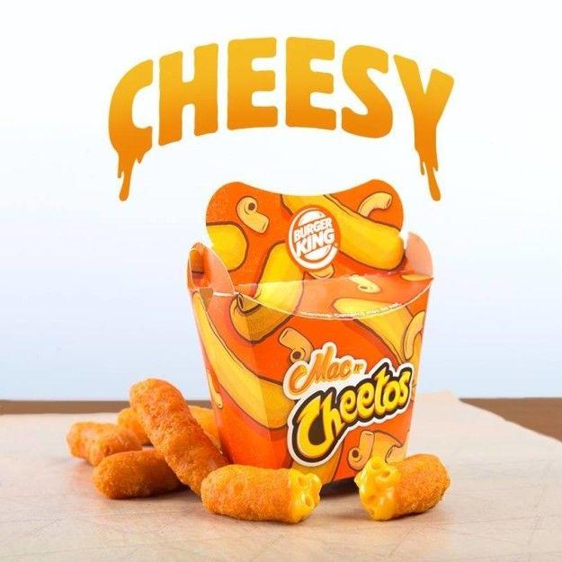 Mac N' Cheetos AKA mac 'n' cheese deep-fried in an orange Cheetos crust.