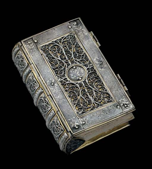A Continental Parcel-Gilt Silver and Niello Book Cover Circa 1600