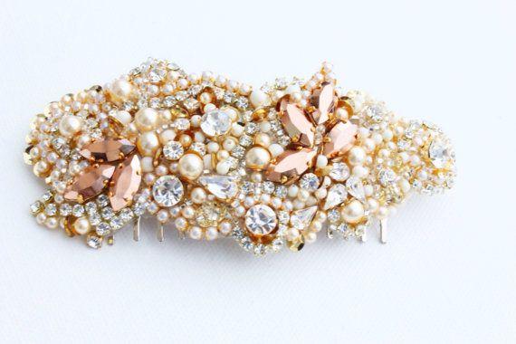 Rose Gold Crystal Hair Comb  Vintage Wedding  One by KNRHANDMADE