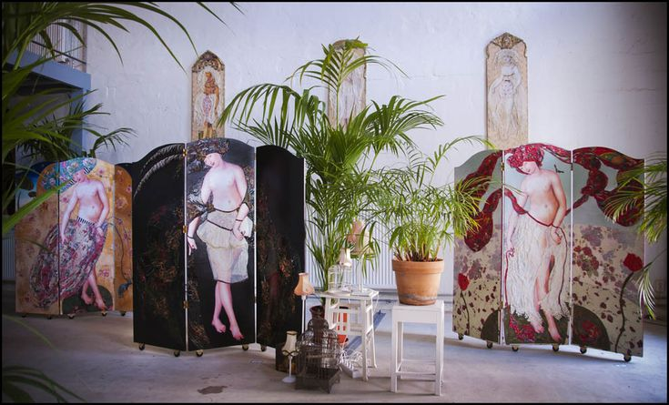 Margriet Thissen; overzicht inrichting expositie panelen&kamerschermen.