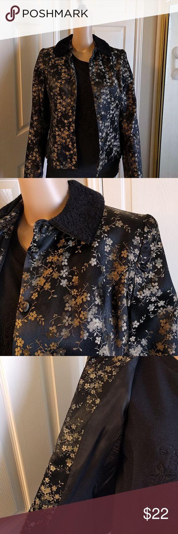 Scott McClintock Dressy Jacket Stylish Black with Gold Flower Dress Jacket.  Fully Lined with Faux Collar. Scott McClintock Jackets & Coats Blazers