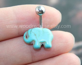 Turquoise Elephant Belly Button Rings,Cute elephant Navel jewelry,lucky belly button jewelry,friendship belly rings,summer jewelry