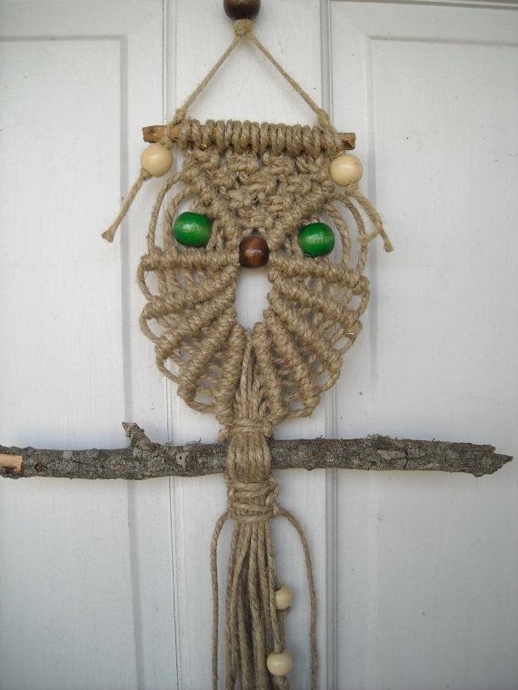 Hemp Macrame Owl Wall Hanging by InfinityDesignsTN on Etsy ...