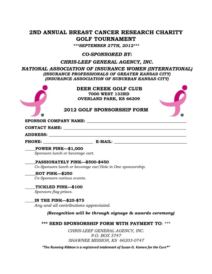 12 best BCA images on Pinterest Breast cancer, Golf tournament - charity sponsor form template