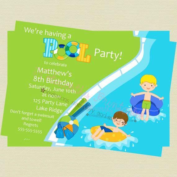 Printable Boy Pool Party Invitation by NoteworthyPrintables