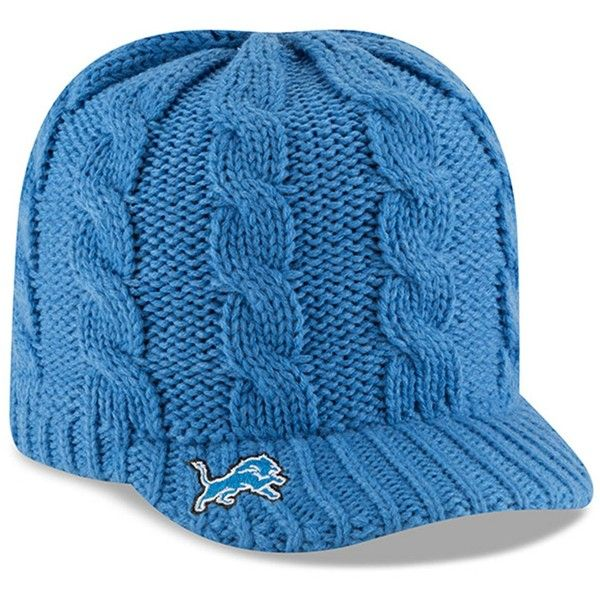 New Era Cap Arctic Blast Detroit Lions Cable Cadet Beanie (860 RUB) ❤ liked on Polyvore featuring accessories, hats, blue, blue beanie hat, detroit lions beanie, blue crown, detroit lions hat and cap hats