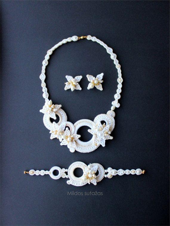 Handmade jewelry set  earrings necklace and by Mildossutazas