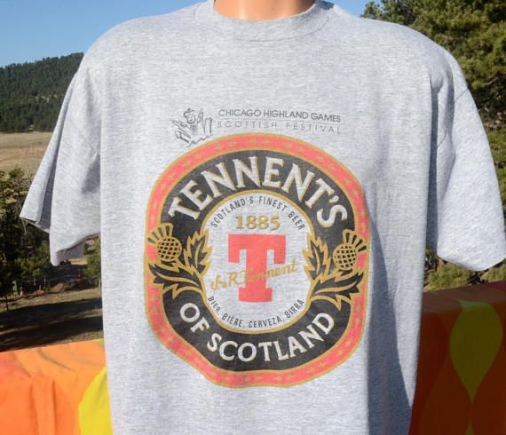vintage 90s t-shirt TENNENT'S LAGER beer chicago highland