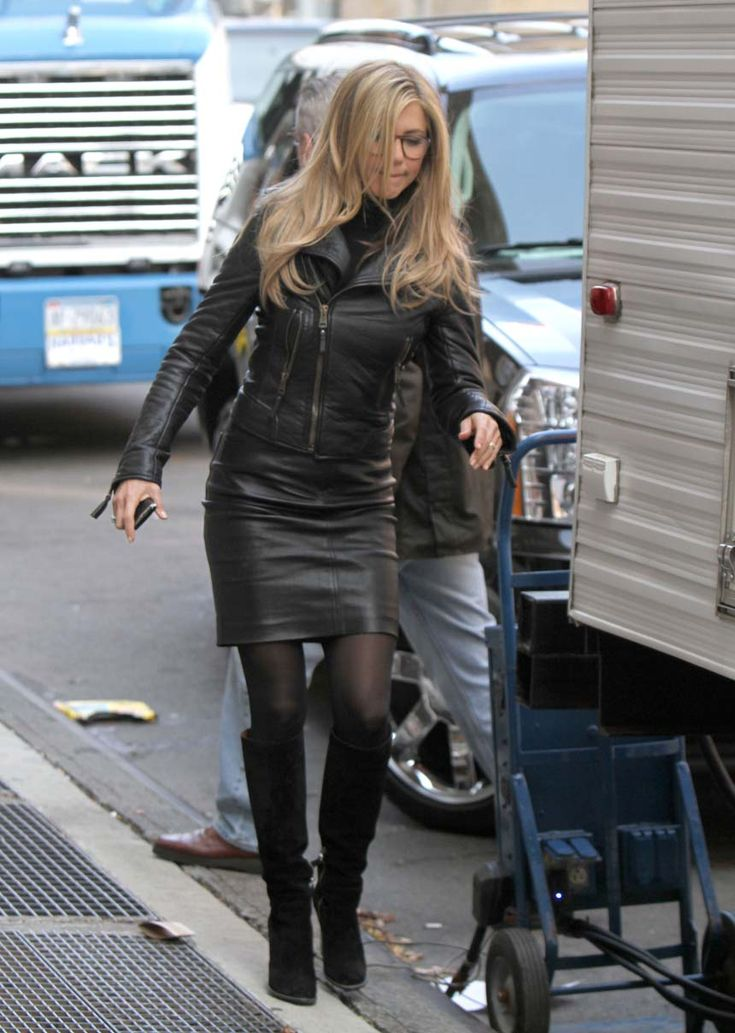 Did a follow-up search on Jennifer Aniston in leather and guess what?   Jennifer Aniston in leather jacket, tight leather skirt and leather ...