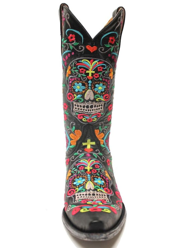 """Old Gringo Klak women's boots. Black leather adorned with festive multicolored embroidery paying homage to """"Dia De Los Muertos"""" - Day of the Dead skulls (L1300-1) 