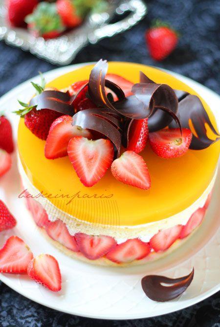 Strawberry Mango Glazed Fraisier