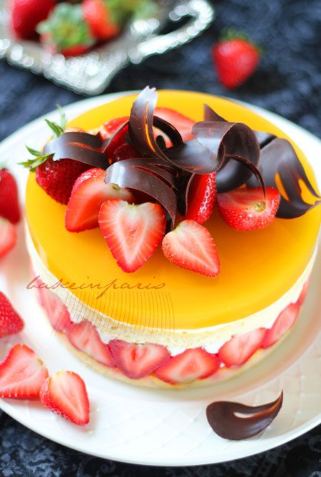 Strawberry Mango Glazed Fraisier