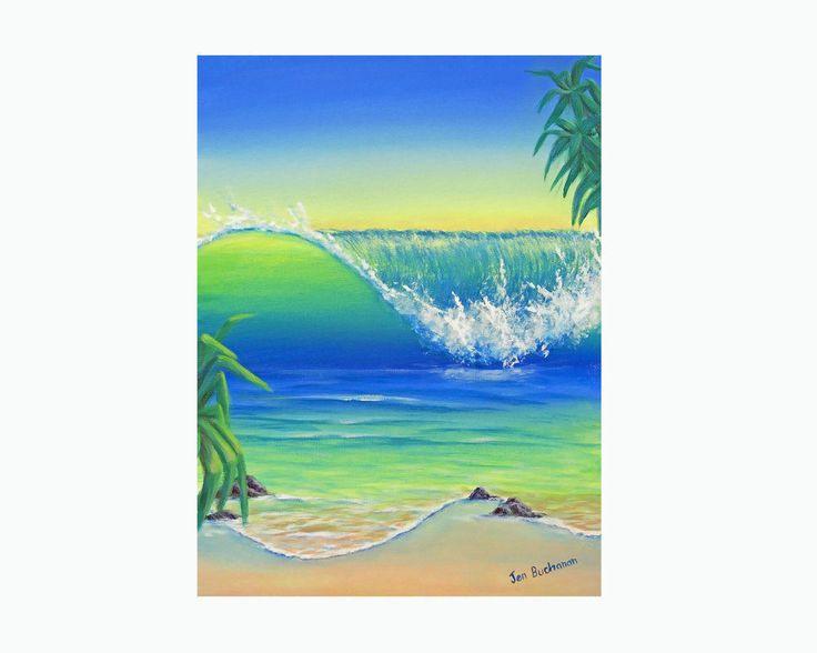 Surf Art Marine Art Ocean Art Beach Painting Original Acrylic Painting Canvas Wall Art Australia Beach House Wave Painting Water Painting by JenzartPaint on Etsy