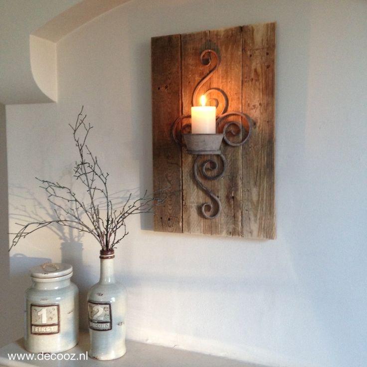 Houten wandbord met ornament, wandkandelaar, stoer wandbord voor aan de muur