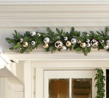Outdoor Ornament Pine Garland Gold Silver Potterybarn