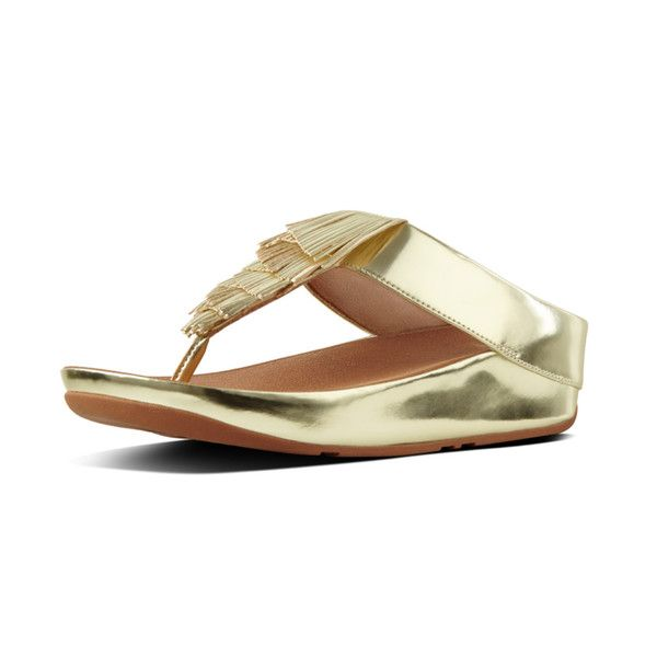 a5ce83fed FitFlop Cha Cha Fringe Toe Post Sandals in Metallic PU Gold colour  available from Brandshop UK with FREE postage and returns.