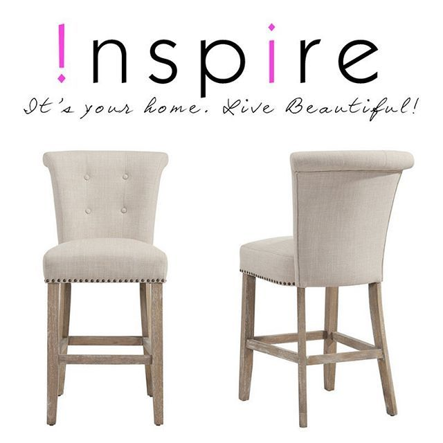 The Selma Counter Stools from !nspire are an elegant choice. They come in beige or gray, and we also have a side chair version! Only from !nspire...    http://worldwidehomefurnishingsinc.com/selma-26-counter-stool-in-coffee-beige-2pk.html