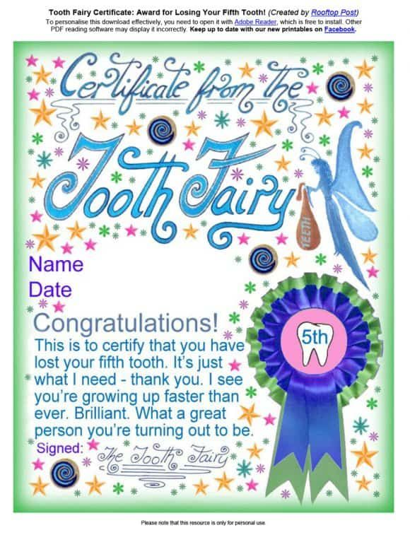 Tooth Fairy Letter 05 Tooth Fairy Certificate Tooth Fairy Letter Tooth Fairy