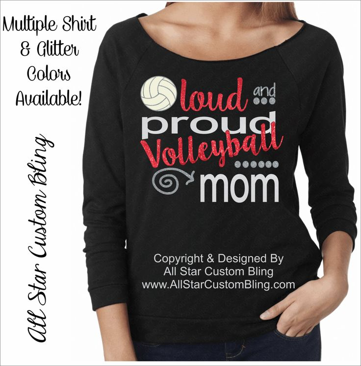 Glitter Loud and Proud Volleyball Mom Terry Raglan Raw Edge Neckline, Glitter Volleyball Mom Shirt, Volleyball Mom Raglan Shirt by AllStarCustomBling on Etsy