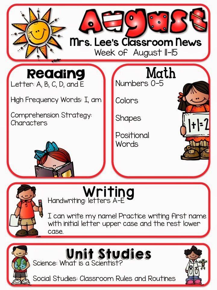 Kindergarten Calendar For Parents : Ideas about kindergarten newsletter on pinterest