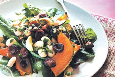 Maple pumpkin, garlic, bean and chorizo salad