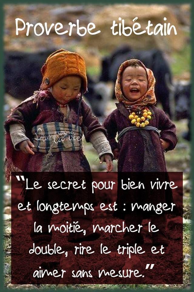 """Proverbe tibétain : - """"Le secret pour bien vivre et longtemps est : manger la moitié, marcher le double, rire le triple et aimer sans mesure""""."""