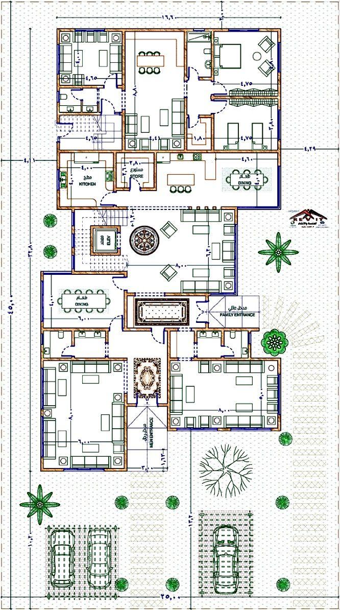 Arabia Villa مخطط فيلا للتواصل لعمل جميع التصاميم والديكور Twitter Egyrevit او الايميل Egyrevit Gmai Courtyard House Plans Model House Plan House Layout Plans