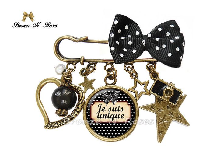"Broche épingle "" Je suis unique "" cabochon noir bijou fantaisie : Broche par bronze-n-roses"