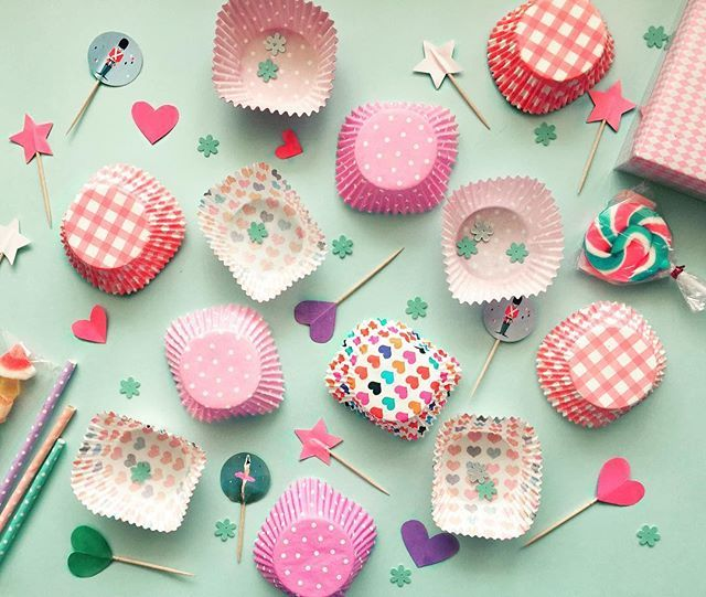 It's bake day at the studio today  checkout all the fun cupcake decor accessories  we are playing with ❣️ #cupcakestagram #cupcaketoppers #cupcakewrappers #twcstudio #patternlove #stripes #polkadots #hearts