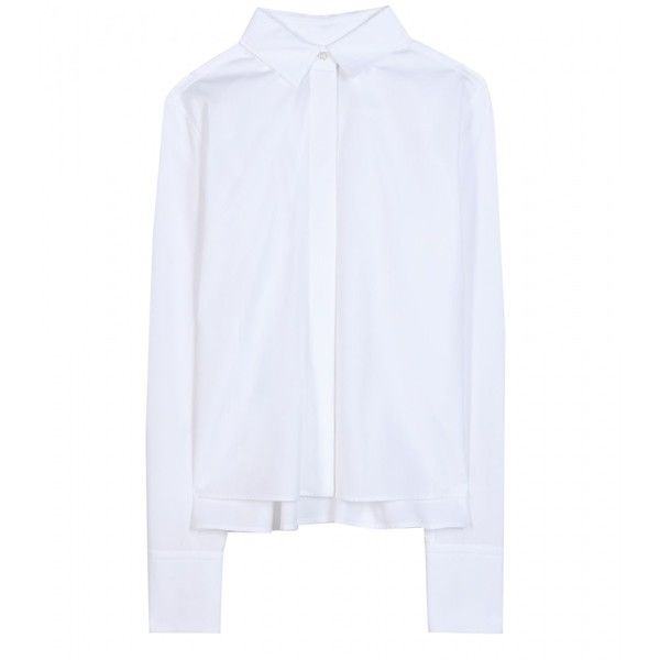 Valentino Piqué-Trimmed Cotton Shirt (117.495 HUF) ❤ liked on Polyvore featuring tops, shirts, valentino, white, woven cotton shirt, valentino shirt, button front shirt, button front top and white cotton shirt