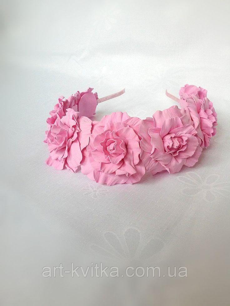 #Веночек с розовыми розами на голову, #ободок с розами, foamiran flowers, flower headband, #flower crown