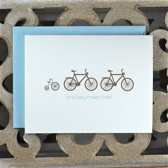 Pregnancy Announcement Cards . Expecting Baby Cards . Pregnancy Announcement - Growing Family of Bikes. $18.00, via Etsy.