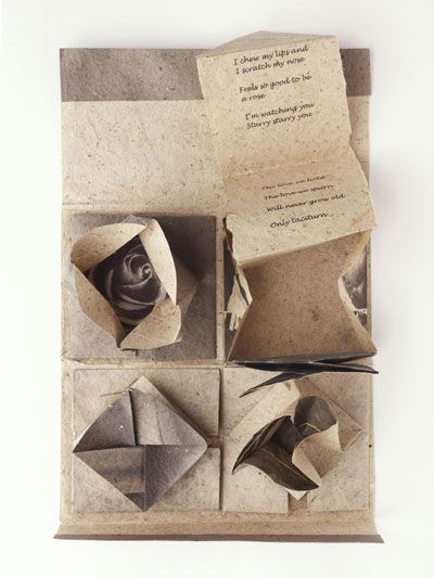 Folded Secrets by Susan Cutts, 2011.Bookmaking Art, Book Art, Susan Cutts, Book Binding, Paper Sculpture, Art Book, Chinese Thread, Artists Book, Thread Book