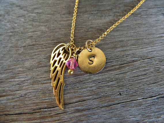 Gold ANGEL WING initial disc birthstone necklace. by SoCoolCharms