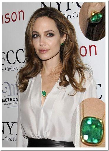 Angelina Jolie with Emerald Jewelry