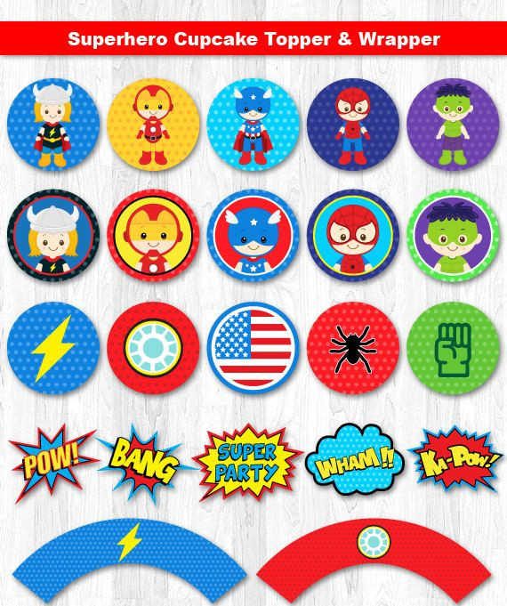 Superhero Cupcake Topper Superhero Cupcake Wrapper by KidzParty                                                                                                                                                      More