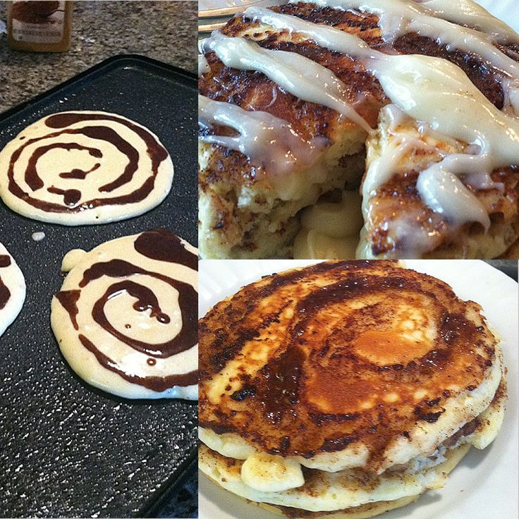 Cinnamon roll pancakes with a homemade cream cheese glaze! Soo good and perfect for a weekend brekfast