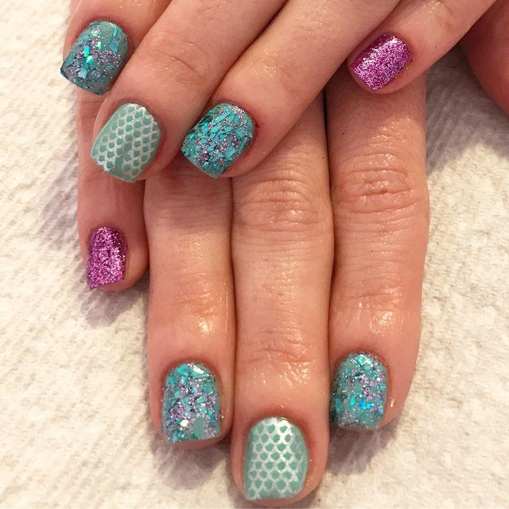Mermaid nails. Summer nails. Ocean nails. Mermaid. Glitter nails. Glitter. Teal nails. Aqua nails. Purple nails. Glass glitter nails. Gel nails. Short nails. Square nails.