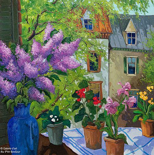 Robert Savignac, 'Banquet de printemps', 30'' x 30'' | Galerie d'art - Au P'tit Bonheur - Art Gallery