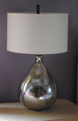 One Day at a Time: PB Knock Off - Mercury Glass Lamps.  Using krylon spray paint