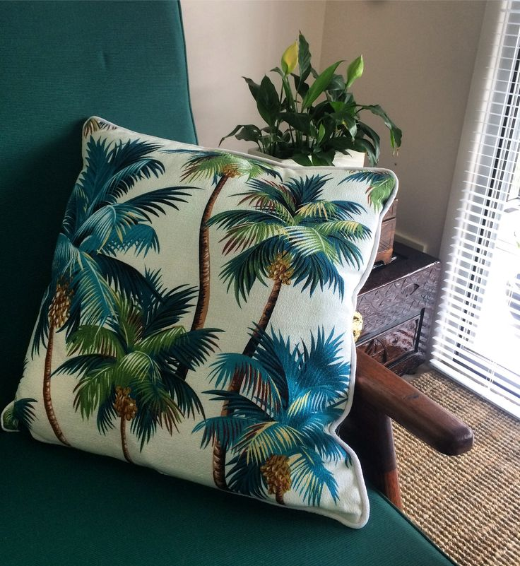 """Tropical styling inspiration for your home. I'm so in love with this gorgeous cushion by Escape to Paradise. To shop online please visit website www.hartIdn.com search """"escape to paradise""""."""