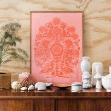 """LISA GRUE """"Bird in a Tree' Pink  --- Limited edition Offset Print illustration, signed and numbered by Lisa Grue.  Without frame, shipped in protective cylinder.  Size 50 x 70 cm"""