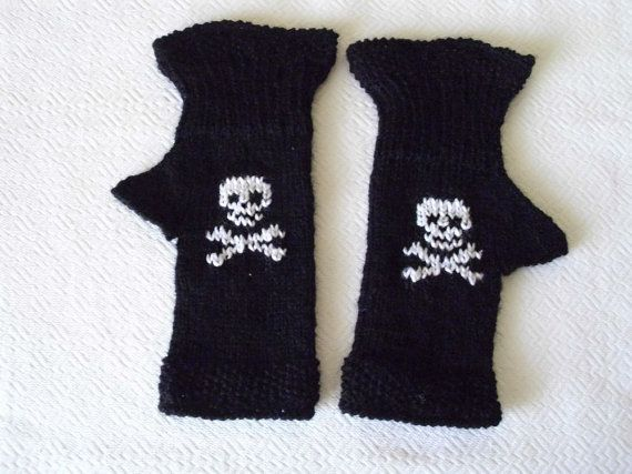 Fingerless gloves with  Skull and Crossbones by MarikaHandKnits, $24.00
