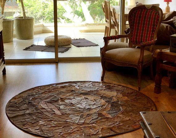 Circular Rug Leather Round